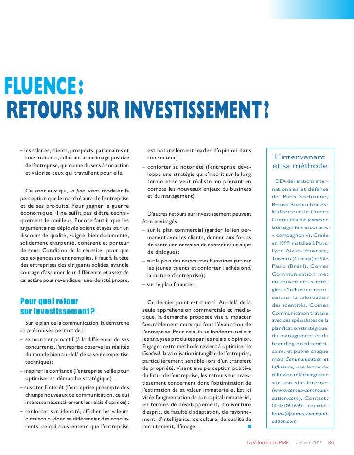 fluence:retours sur investissement? – les salariés, clients, prospects, partenaires et     est naturellement leader d'op...