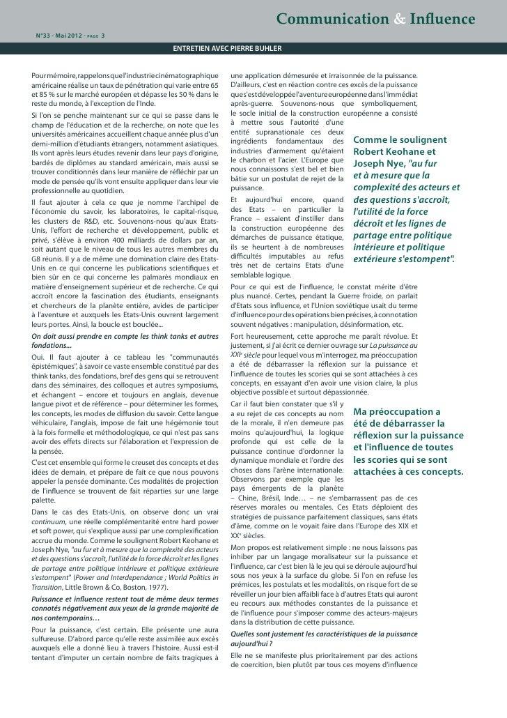 De la puissance à l'influence dans la sphère des relations internationales : le décryptage de Pierre Buhler Slide 3