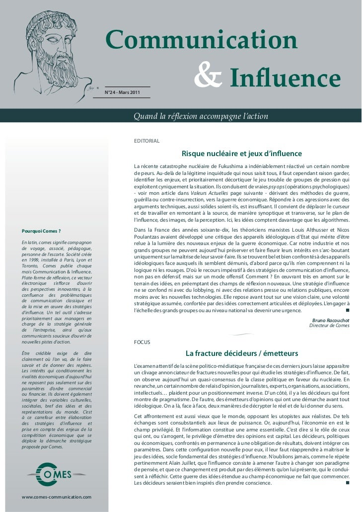 Communication                                           & Influence                                       N°24 - Mars 2011 ...