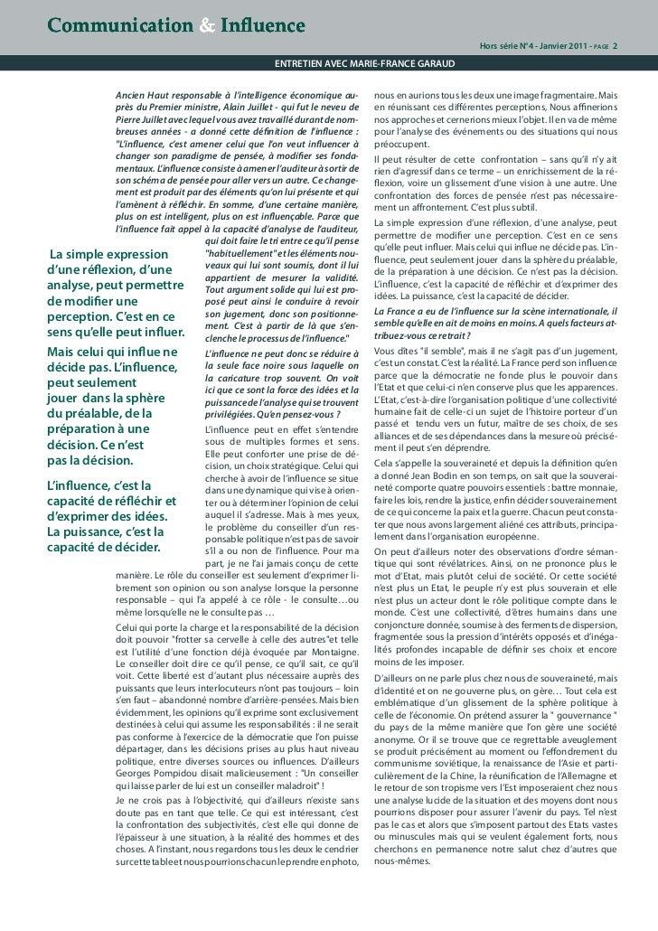 Stratégies d'influence, le décryptage de Marie-France Garaud. Slide 2