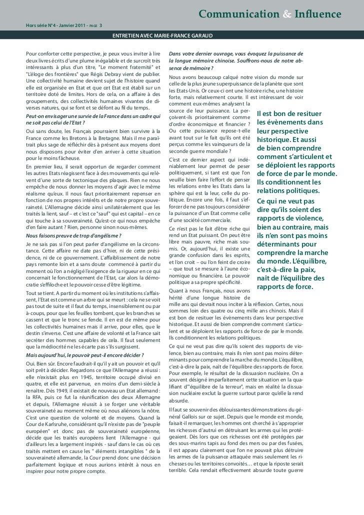 Stratégies d'influence, le décryptage de Marie-France Garaud. Slide 3