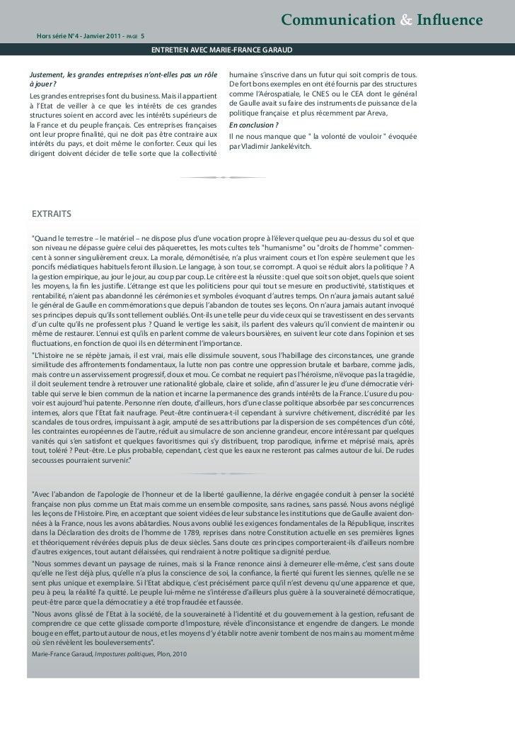 Communication & Influence  Hors série N°4 - Janvier 2011 - page 5                                           ENTRETIEN AVEC...