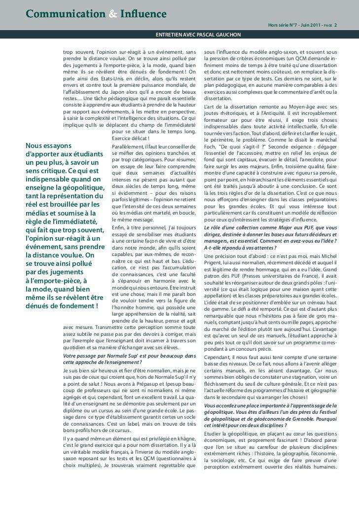Stratégies d'influence, le décryptage de Pascal Gauchon. Slide 2