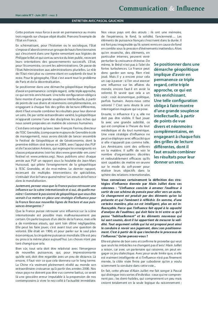 Stratégies d'influence, le décryptage de Pascal Gauchon. Slide 3