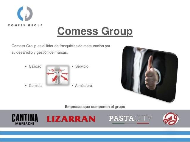 Comess Group Empresas que componen el grupo Comess Group es el líder de franquicias de restauración por su desarrollo y ge...
