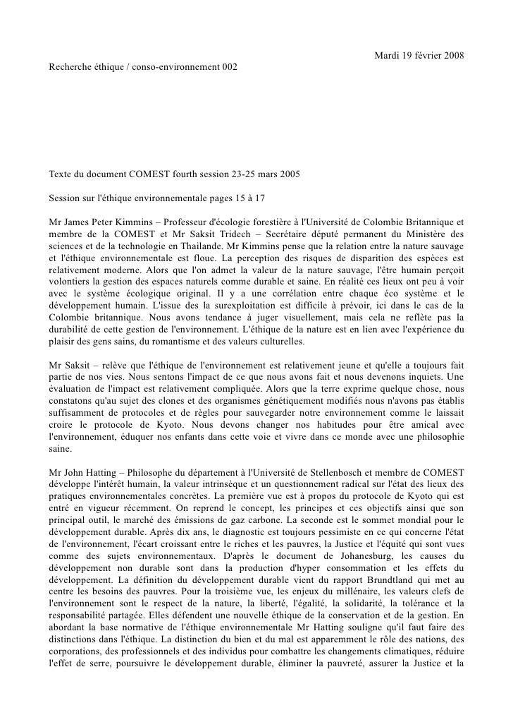 Mardi 19 février 2008 Recherche éthique / conso-environnement 002     Texte du document COMEST fourth session 23-25 mars 2...