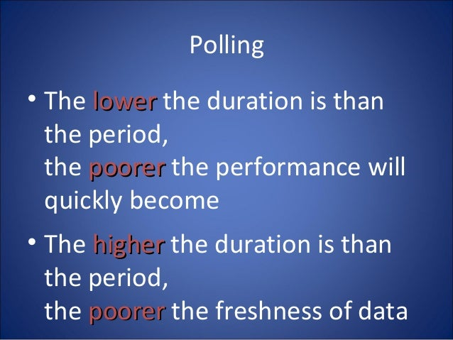 Polling • The lowerlower the duration is than the period, the poorerpoorer the performance will quickly become • The highe...