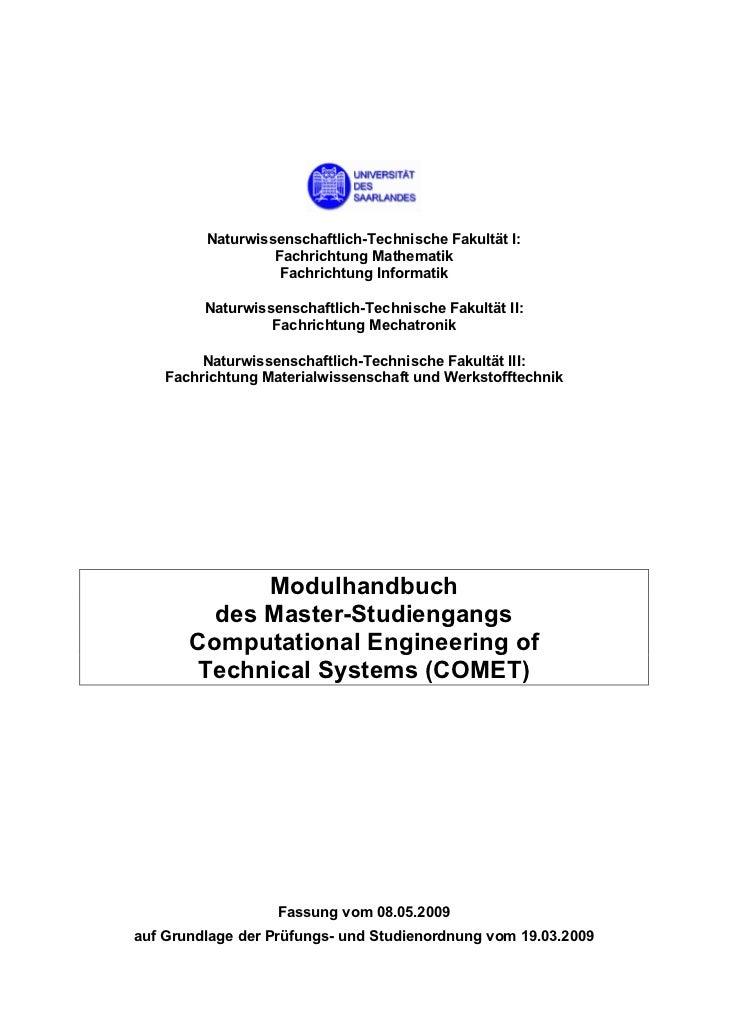 Naturwissenschaftlich-Technische Fakultät I:                  Fachrichtung Mathematik                   Fachrichtung Infor...
