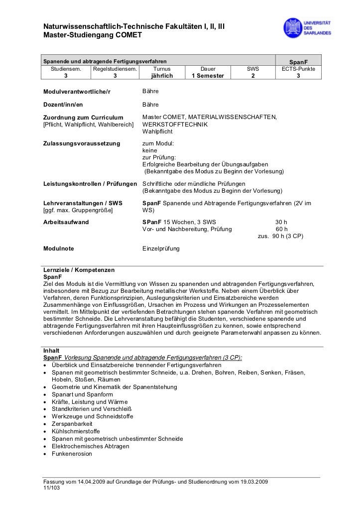 Naturwissenschaftlich-Technische Fakultäten I, II, IIIMaster-Studiengang COMETSpanende und abtragende Fertigungsverfahren ...