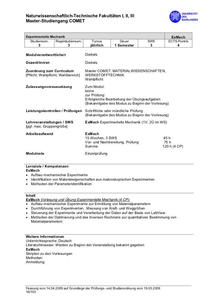 Naturwissenschaftlich-Technische Fakultäten I, II, IIIMaster-Studiengang COMETExperimentelle Mechanik                     ...