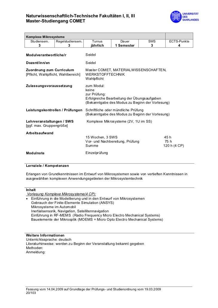 Naturwissenschaftlich-Technische Fakultäten I, II, IIIMaster-Studiengang COMETKomplexe Mikrosysteme  Studiensem.    Regels...