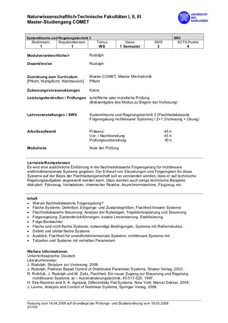 Naturwissenschaftlich-Technische Fakultäten I, II, IIIMaster-Studiengang COMETSystemtheorie und Regelungstechnik 3        ...