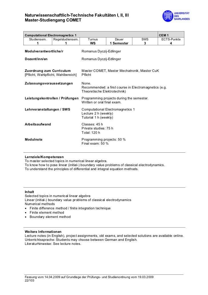 Naturwissenschaftlich-Technische Fakultäten I, II, IIIMaster-Studiengang COMETComputational Electromagnetics 1            ...