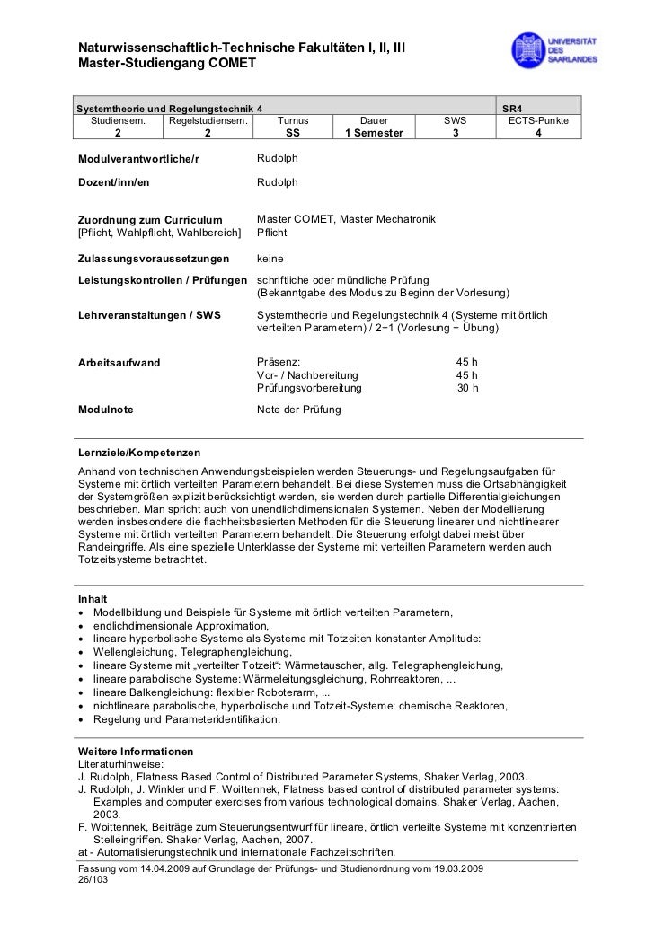 Naturwissenschaftlich-Technische Fakultäten I, II, IIIMaster-Studiengang COMETSystemtheorie und Regelungstechnik 4        ...