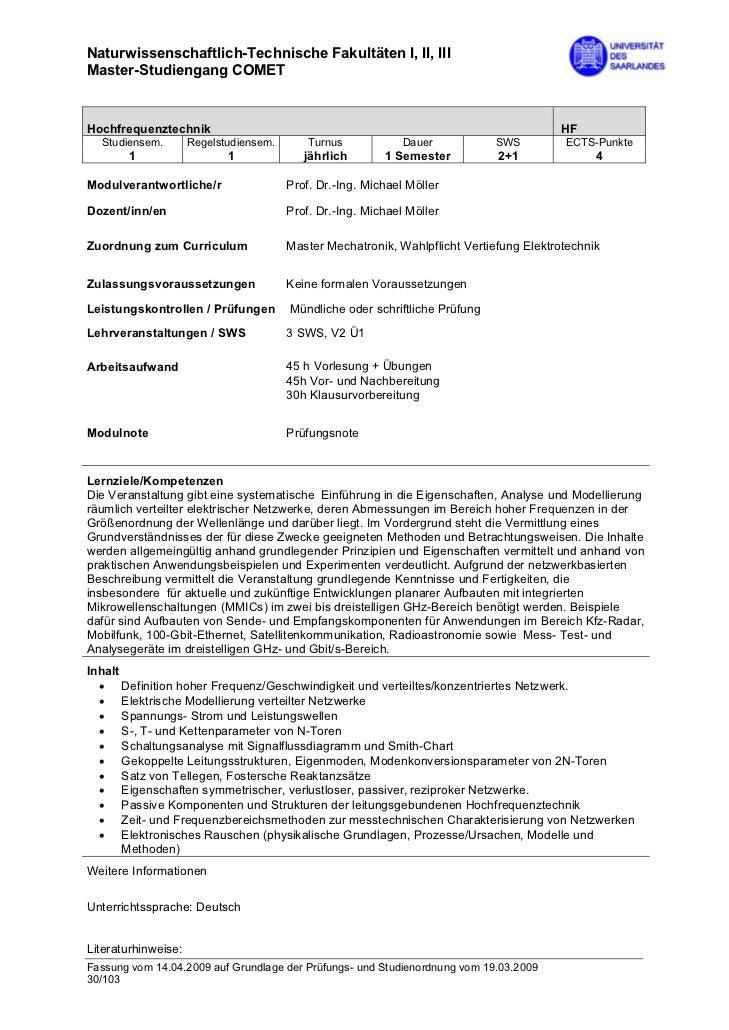 Naturwissenschaftlich-Technische Fakultäten I, II, IIIMaster-Studiengang COMETHochfrequenztechnik                         ...