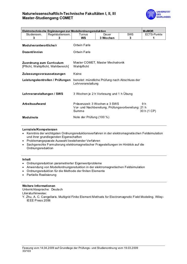 Naturwissenschaftlich-Technische Fakultäten I, II, IIIMaster-Studiengang COMETElektrotechnische Ergänzungen zur Modellordn...