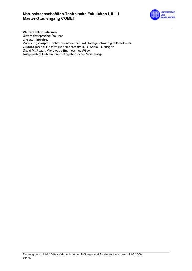 Naturwissenschaftlich-Technische Fakultäten I, II, IIIMaster-Studiengang COMETWeitere InformationenUnterrichtssprache: Deu...