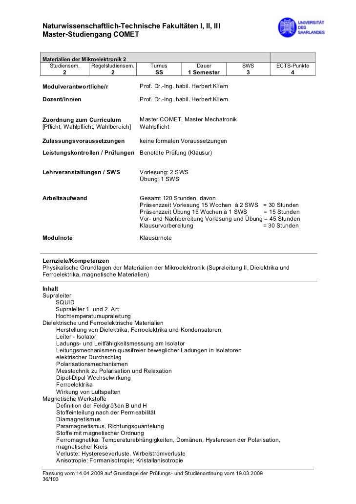 Naturwissenschaftlich-Technische Fakultäten I, II, IIIMaster-Studiengang COMETMaterialien der Mikroelektronik 2  Studiense...