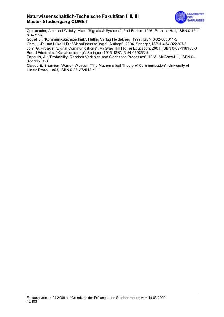 """Naturwissenschaftlich-Technische Fakultäten I, II, IIIMaster-Studiengang COMETOppenheim, Alan and Willsky, Alan: """"Signals ..."""