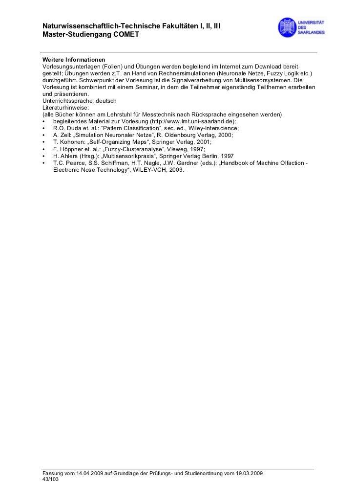 Naturwissenschaftlich-Technische Fakultäten I, II, IIIMaster-Studiengang COMETWeitere InformationenVorlesungsunterlagen (F...
