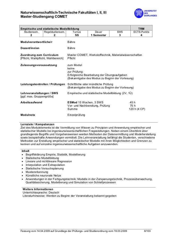 Naturwissenschaftlich-Technische Fakultäten I, II, IIIMaster-Studiengang COMETEmpirische und statistische Modellbildung   ...