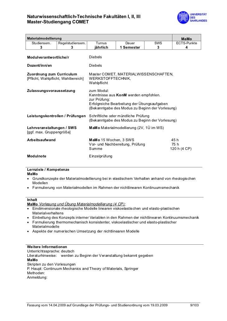 Naturwissenschaftlich-Technische Fakultäten I, II, IIIMaster-Studiengang COMETMaterialmodellierung                        ...