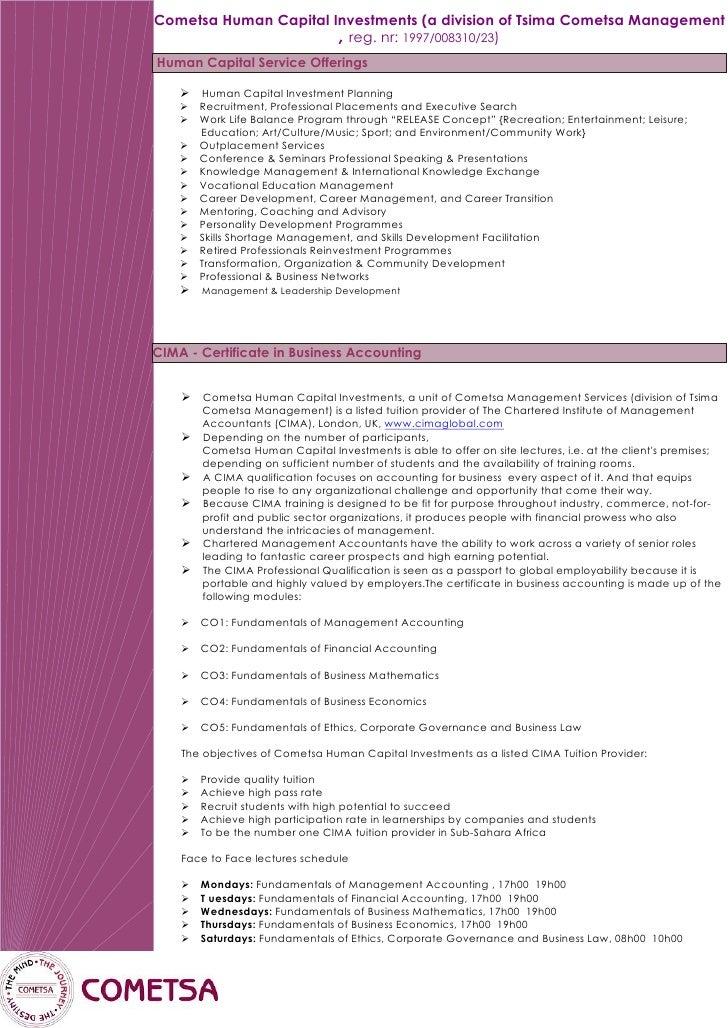 Cometsa Human Capital Investments (a division of Tsima Cometsa Management                        , reg. nr: 1997/008310/23...