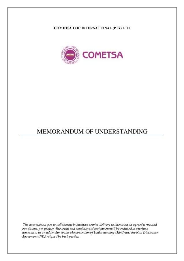 COMETSA GOC INTERNATIONAL (PTY) LTD MEMORANDUM OF UNDERSTANDING The associates agree to collaborate in business service de...