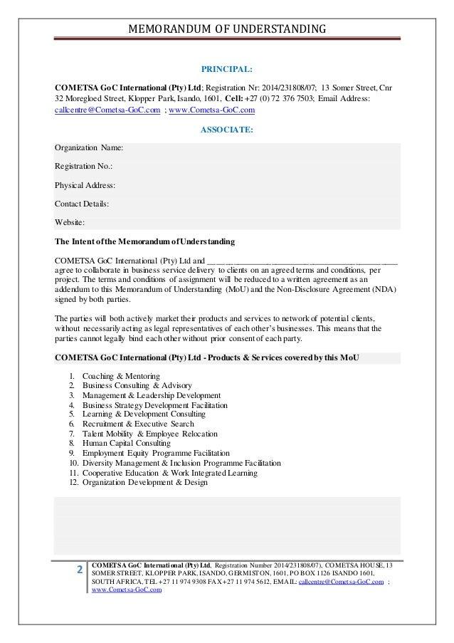 MEMORANDUM OF UNDERSTANDING 2 COMETSA GoC International (Pty) Ltd, Registration Number 2014/231808/07), COMETSA HOUSE, 13 ...