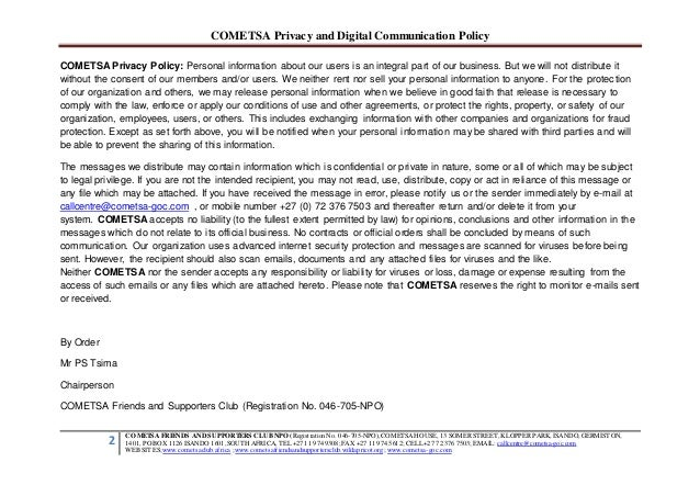 COMETSA Privacy and Digital Communication Policy 2 COMETSA FRIENDS AND SUPPORTERS CLUB NPO (RegistrationNo. 046-705-NPO), ...