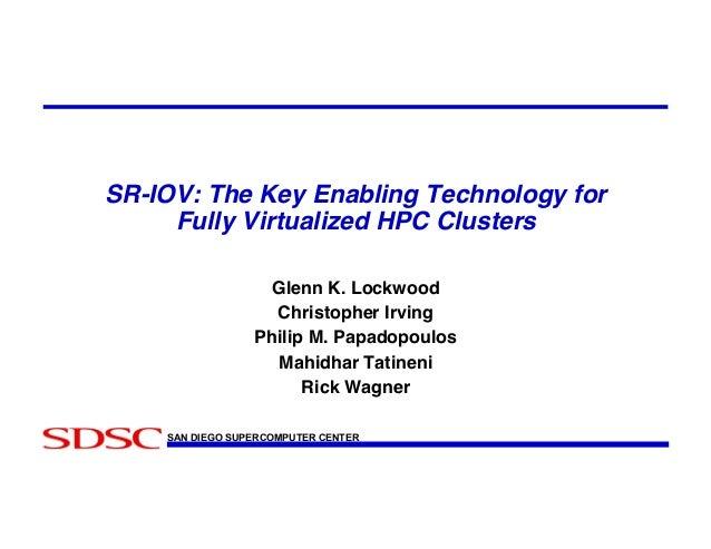 SR-IOV: The Key Enabling Technology for Fully Virtualized HPC Clusters! Glenn K. Lockwood! Christopher Irving! Philip M. P...