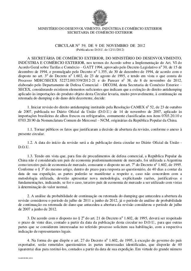 MINISTÉRIO DO DESENVOLVIMENTO, INDÚSTRIA E COMÉRCIO EXTERIOR                                  SECRETARIA DE COMÉRCIO EXTER...