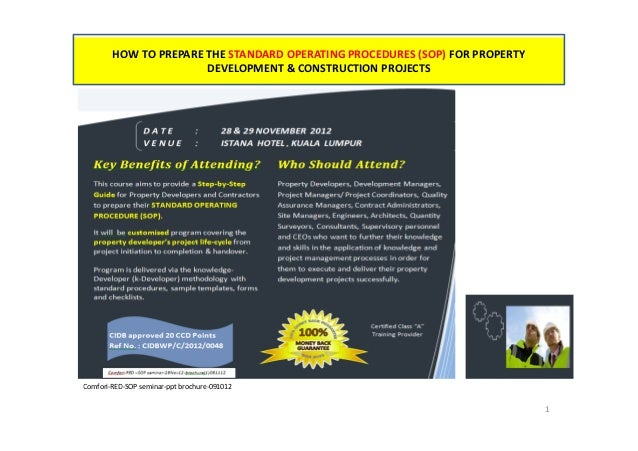 HOW TO PREPARE THE STANDARD OPERATING PROCEDURES (SOP) FOR PROPERTY                       DEVELOPMENT & CONSTRUCTION PROJE...