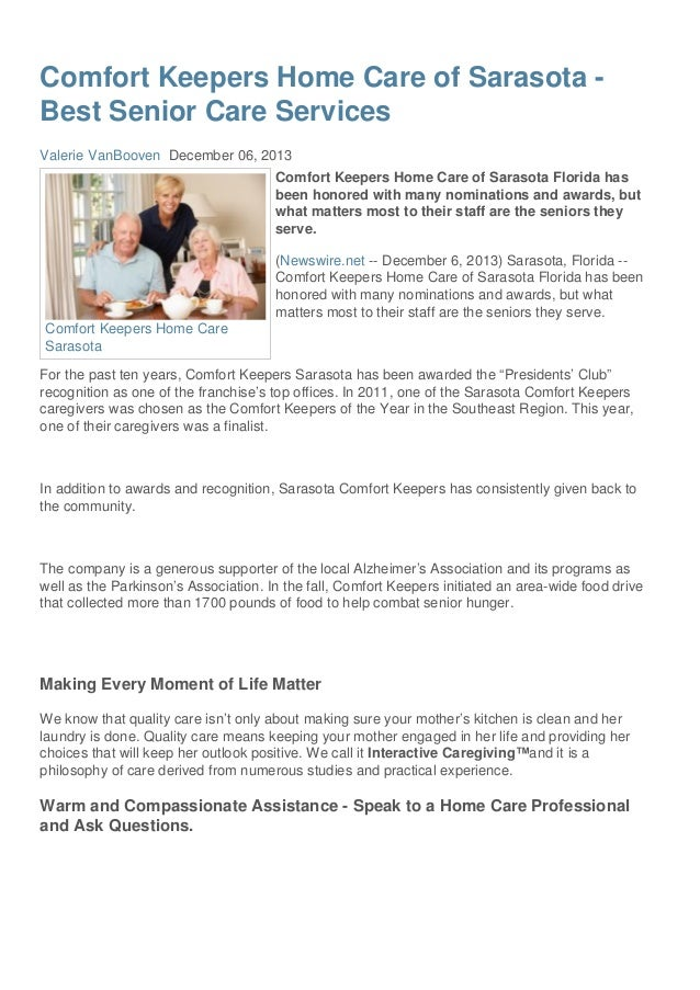 Comfort Keepers Home Care of Sarasota Best Senior Care Services Valerie VanBooven December 06, 2013 Comfort Keepers Home C...
