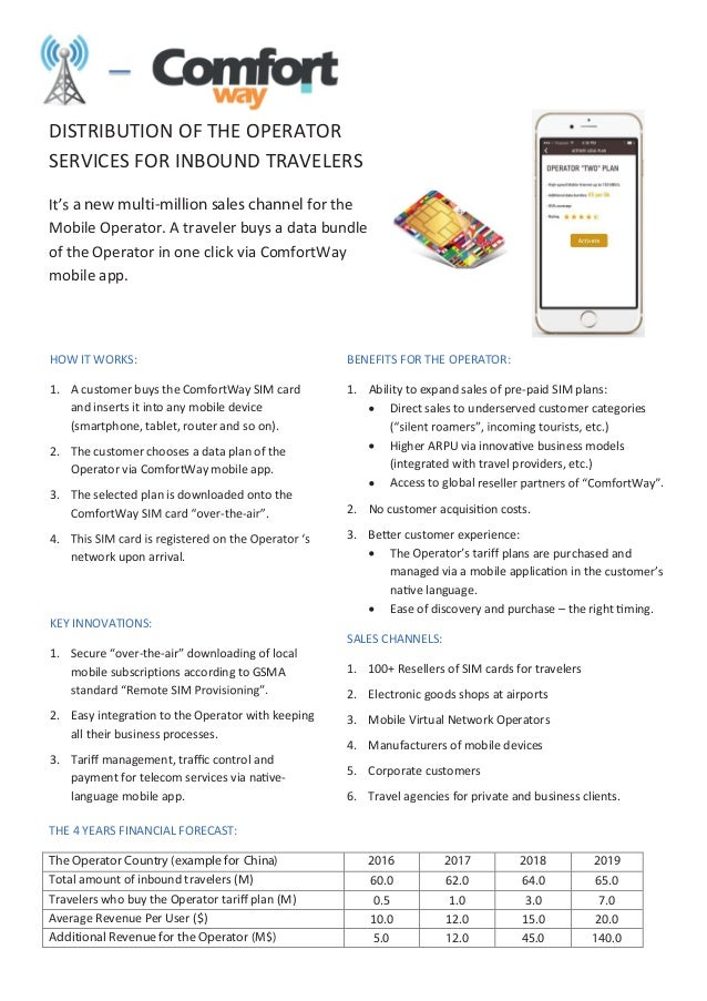 DISTRIBUTION OF THE OPERATOR SERVICES FOR INBOUND TRAVELERS a new multi-million sales channel for the Mobile Operator. A t...