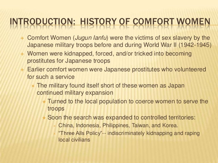 The prevalence of the comfort system comfort of women in the japanese military
