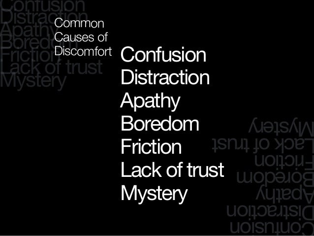 Confusion Distraction Apathy Boredom Friction Lack of trust Mystery onfusion istraction pathy oredom riction ackoftrust ys...