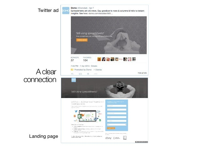 A clear connection Twitter ad Landing page