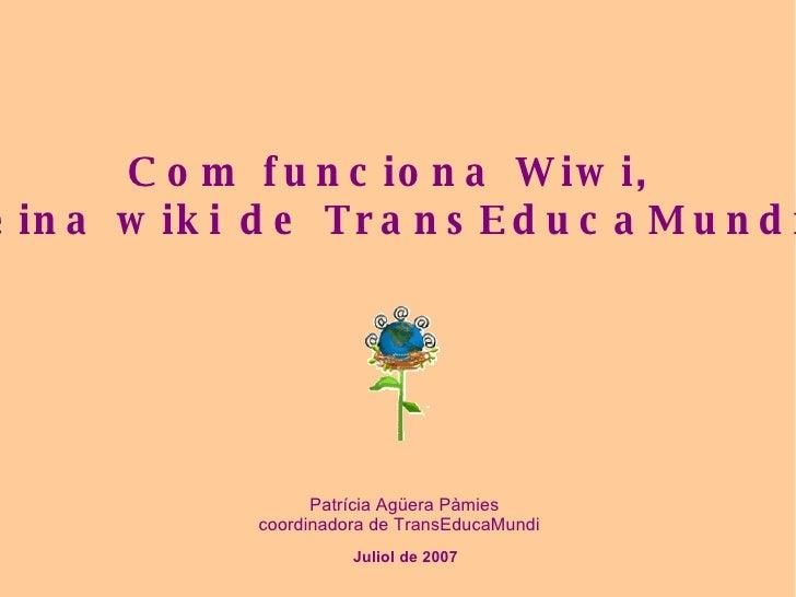 Juliol de 2007 Patrícia Agüera Pàmies coordinadora de TransEducaMundi Com funciona Wiwi,  l'eina wiki de TransEducaMundi?