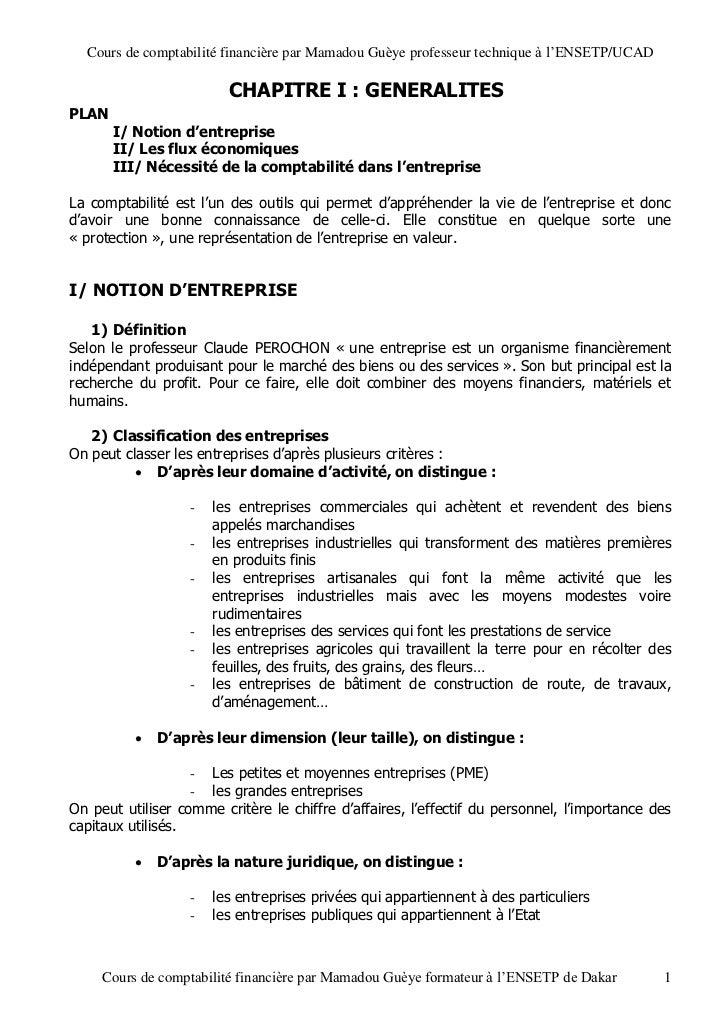 Cours de comptabilité financière par Mamadou Guèye professeur technique à l'ENSETP/UCAD                         CHAPITRE I...
