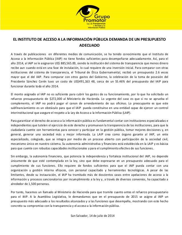 EL INSTITUTO DE ACCESO A LA INFORMACIÓN PÚBLICA DEMANDA DE UN PRESUPUESTO ADECUADO A través de publicaciones en diferentes...