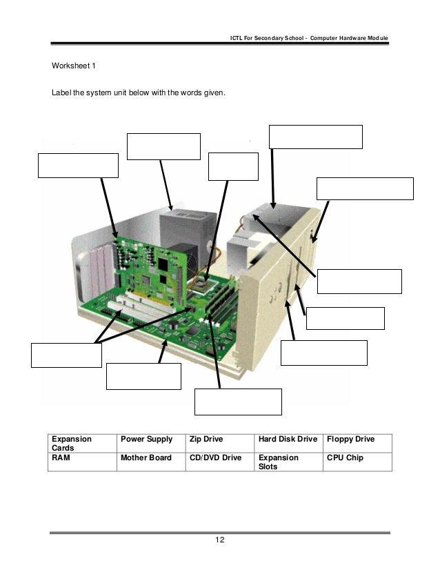 Com hardware – Computer Parts Worksheet