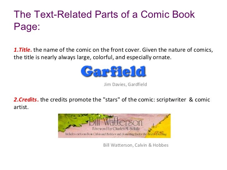 The Text-Related Parts of a Comic BookPage:1.Title. the name of the comic on the front cover. Given the nature of comics,t...