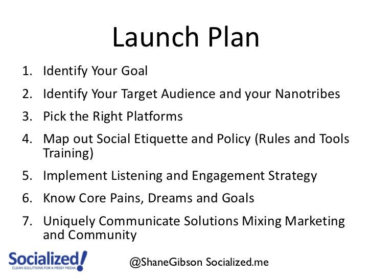 Launch Plan1. Identify Your Goal2. Identify Your Target Audience and your Nanotribes3. Pick the Right Platforms4. Map out ...