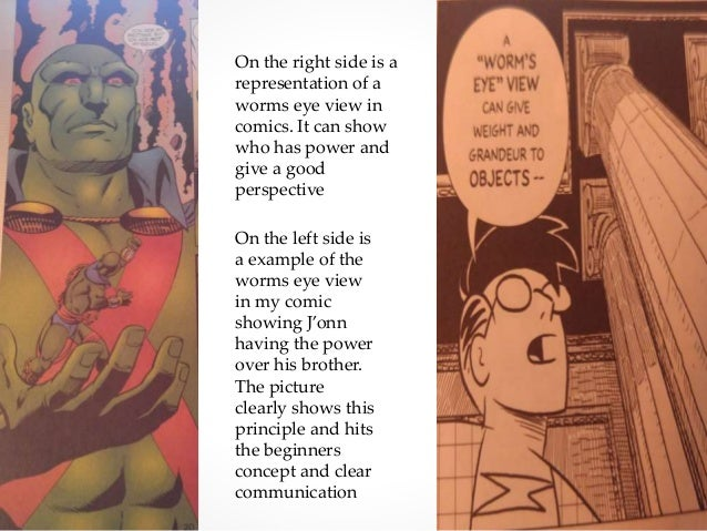 On the right side is a representation of a worms eye view in comics. It can show who has power and give a good perspective...