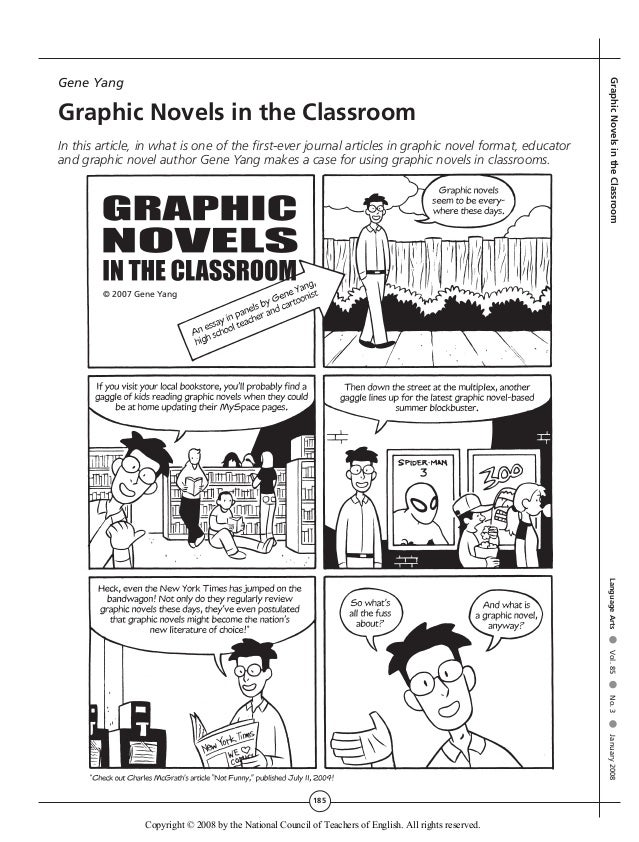 185 GraphicNovelsintheClassroomLanguageArts●Vol.85●No.3●January2008 Gene Yang Graphic Novels in the Classroom In this arti...