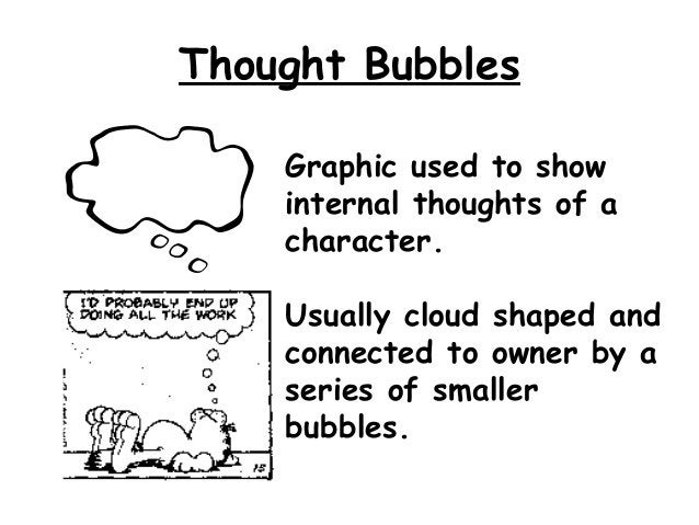 Thought Bubbles    Graphic used to show    internal thoughts of a    character.    Usually cloud shaped and    connected t...