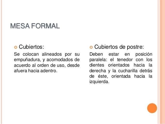 Comidas formales e informales for Orden de los cubiertos en la mesa