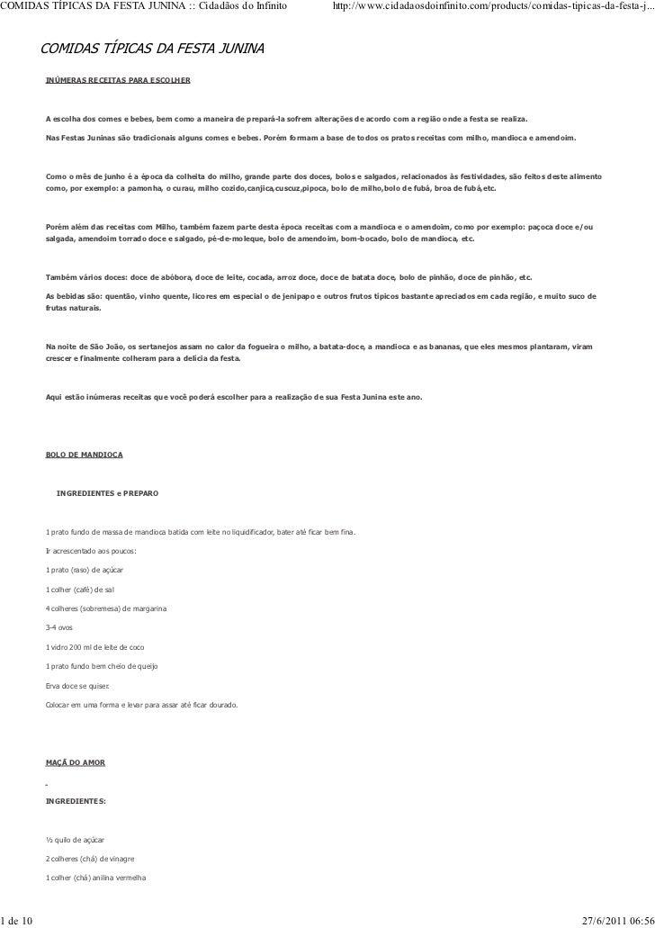 COMIDAS TÍPICAS DA FESTA JUNINA :: Cidadãos do Infinito                                           http://www.cidadaosdoinf...