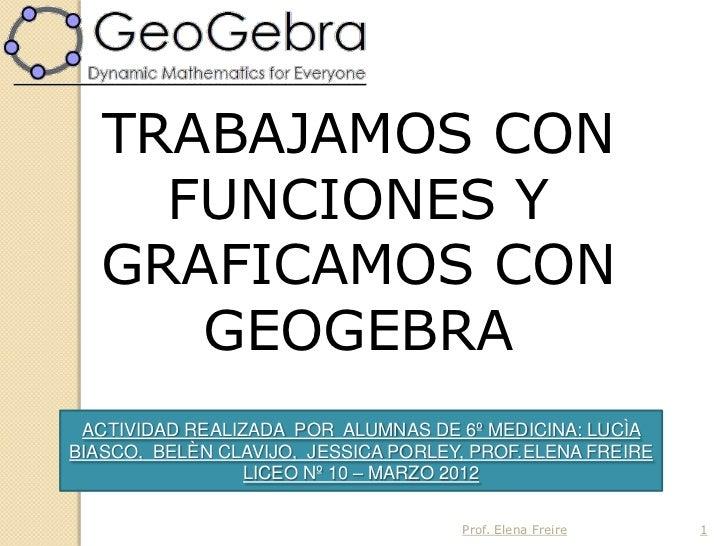 TRABAJAMOS CON     FUNCIONES Y   GRAFICAMOS CON      GEOGEBRA ACTIVIDAD REALIZADA POR ALUMNAS DE 6º MEDICINA: LUCÌABIASCO,...